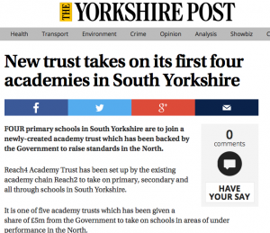 New trust takes on its first four academies in South Yorkshire